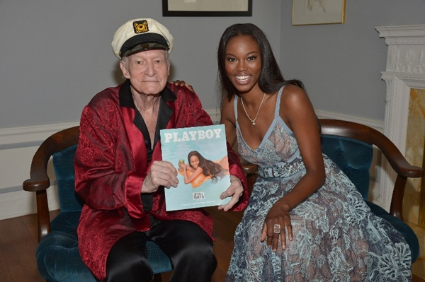 LOS ANGELES, CA - MAY 11: Playboy Founder and Editor-In-Chief Hugh M. Hefner poses with 2016 Playmate of the Year Eugena Washington at Playboy's 2016 Playmate of the Year Announcement at the Playboy Mansion on May 11, 2016 in Los Angeles, California.   Charley Gallay/Getty Images for Playboy/AFP